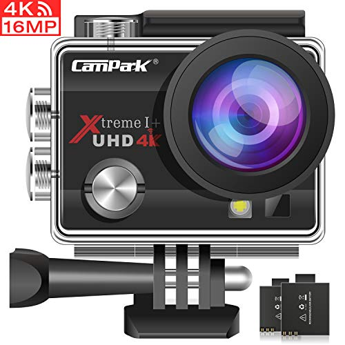 Campark Action Cam 4K WiFi Sports Action Kamera 16MP Ultra Full HD Helmkamera Wasserdicht mit Dual Batterien und Kostenlose Zubehör Kits