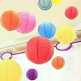 Nerioya Linternas de Papel Coloridos, 10 Paquetes de linternas de Papel Decorativo decoración Colorida Colgante decoración para Rainbow Party Classroom Ceiling Decoración, 16in