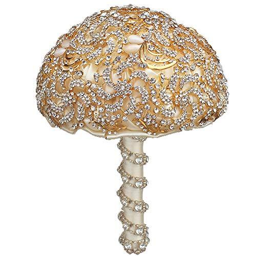 Gaowi matrimonio in strass di cristallo matrimonio bouquet di fiori mazzi nuziali mazzi di fiori artificiali bouquet mariage decoration (18 cm)