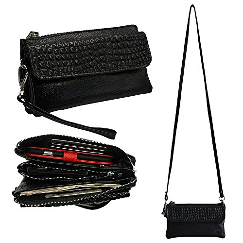 Belfen Befen Soft Leather Women Smartphone Wristlet Wallet Clutch Purse Cross Body Bag with Credit Card Slots/Shoulder Strap/Wrist Strap-[for Cellphone Up to 6.1
