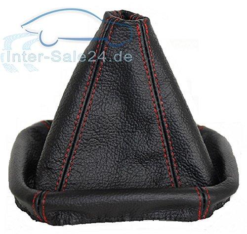 L&P A0026 Schaltsack Schaltmanschette aus 100% ECHTLEDER Leder in Schwarz mit roter Naht Rot
