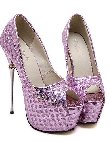 WSS 2016 Chaussures Femme-Habillé / Soirée & Evénement-Violet / Argent-Talon Aiguille-Talons / Bout Ouvert / A Plateau-Talons-Similicuir silver-us7.5 / eu38 / uk5.5 / cn38