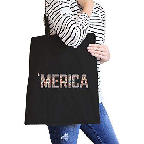 365 Printing inc , Borsa da spiaggia  Donna Ameowica Natural Canvas Bags Misura unica Tribal Pattern 'merica Black Canvas Bags