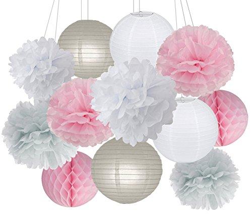 15 Stück rosa grau weiß Party Deko-Set Seidenpapier Pom Pom Honeycomb Ball für Bridal Dusche Mädchen Geburtstag Hochzeit Dekoration Rosa Baby Dusche Raum Dekoration Partyzubehör (Baby-dusche-dekoration Mädchen)