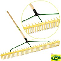 "GroundMaster 48-Tine Polyproylene Rake - 60"" Hardwood Shaft Durable Garden Tool"
