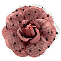 Acosta - Pink Fabric & Polka Dot Black Lace Net - Corsage Rose Flower Brooch / Hair Clip / Fascinator / Accessory - Gift Boxed