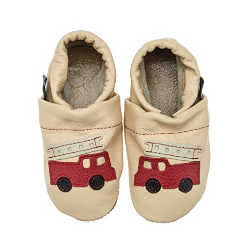 pantau.eu Leder Krabbelschuhe Babyschuhe Lederpuschen Lauflernschuhe mit Feuerwehr Apricot-Rot-Beige