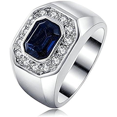 Alimab Gioielli unisex Donne anelli uomini anelli fidanzamento amore anelli oro dorati orologio blu