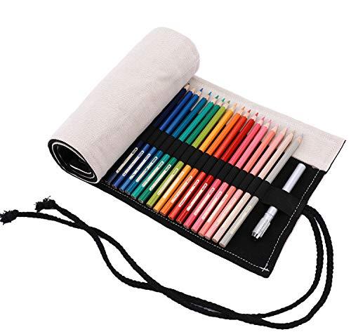 Amoyie Leinwand Stifterolle für 72 Buntstifte, Hand Roll-up Mäppchen (Keine Schreibzeuge im Lieferumfang) - Beige Schwarz