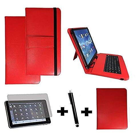 3Kit de démarrage pour Samsung Galaxy Tab A6Clavier QWERTZ Sacoche + Stylet + Film de protection–10.1pouces Clavier Rot