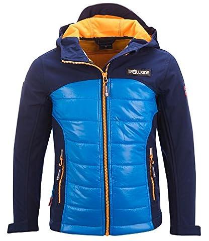 Trollkids Kinder Hybrid Softshell Jacke Lysefjord, Marineblau, Größe 92