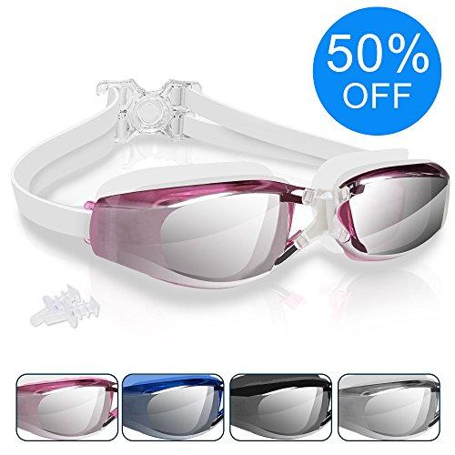 Arteesol Schwimmenbrille-beste optishe mit Sehstärk,100% UV-Schutz für Herren und Damen am besten für Erwachsene geneignet optimale Effekt von Wasserdicht Hochwertige Material u. Optimale Qualität aus hautverträglichem Kunststoff mit kostenlosem Schutzetui Ohrstöpsel u. 3D Speicher Silikon 180° Panorama-Sicht (Rosa)