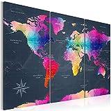 murando - Weltkarte Pinnwand 120x80 cm - Bilder mit Kork Rückwand - Leinwandbilder - Korktafel - Fertig Aufgespannt - Wandbilder XXL - Kunstdrucke - Welt Karte Kontinent Landkarte k-A-0126-p-e 120x80 cm