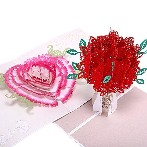 heartmoon 3D Pop up Grußkarten-Set Nelken und Rose Geburtstag Karten Thank You Karten Blumen für Mutter Hochzeit Einladung mit Umschlag (2Stück)