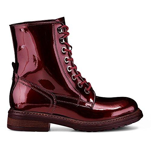 Another A Damen Damen Fashion Boots aus Lack Leder, Stiefeletten in Bordeaux Rot Zum Schnüren Rot Lack 38
