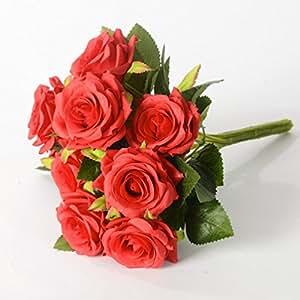 9 teste per mazzo di fiore artificiale della Rosa Sposa azienda nozze decorazione floreale, rosso