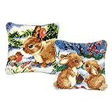 perfk 2er Set Kaninchen Knüpfkissen Bezug zum selber knüpfen