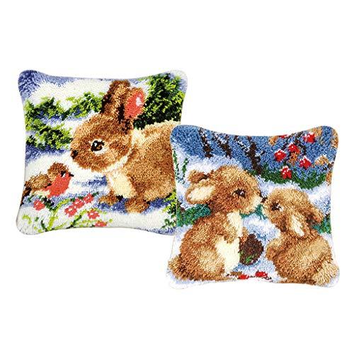 perfk 2er Set Kaninchen Knüpfkissen Bezug zum selber knüpfen, Knüpfpackung Kunsthandwerk Latch Hook Kit -