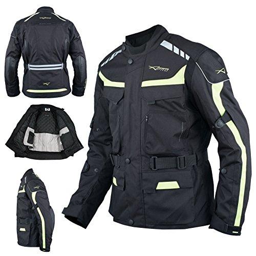 Giacca Impermeabile Moto Tessuto Protezioni CE Scooter Viaggio Fluo L