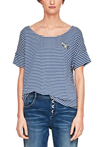 s.Oliver RED LABEL Damen Shirt mit Glitzerstreifen und Pin Mountain Blue Stripes 32 (Mountain Stripe T-shirt)