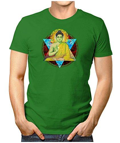 PRILANO Herren Fun T-Shirt - BUDDHA-HARMA - XL - Grün (Grünen T-shirt Buddha)