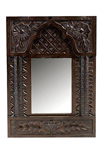 Orient Spiegel Wandspiegel Madurai 60cm groß Silber   Großer Marokkanischer Flurspiegel mit Holzrahmen orientalisch verziert   Orientalischer Vintage