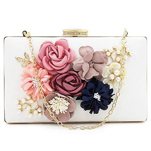 Weiß Abend-handtasche (ZYXB Frauen Clutch Bag Floral Party Geldbörse Hochzeit Abend Handtaschen Weiß,White)