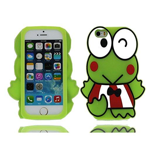 iPhone 5S Copertura,iPhone 5 case,iPhone SE/5G,iPhone 5 Custodia per ragazze,Gomma molle del fumetto di stile della rana della serie 3D [Shock Proof] case cover per il iPhone SE/5/5S/5G -verde verde