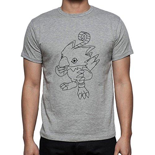 Digimon Biyomon Birdramon Garudamon Black White Sketch Herren T-Shirt Grau