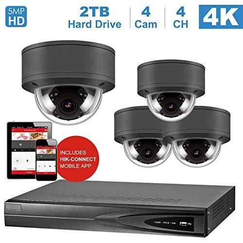 Home Security System, mit 4 IP Poe Kamera 5MP Outdoor wetterfest, einschließlich 2 TB HDD (NVR von Hikvision) ()
