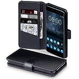 Coque Cuir Nokia 6, Terrapin Étui Housse en Cuir Véritable avec La Fonction Stand pour Nokia 6 Case - Noir