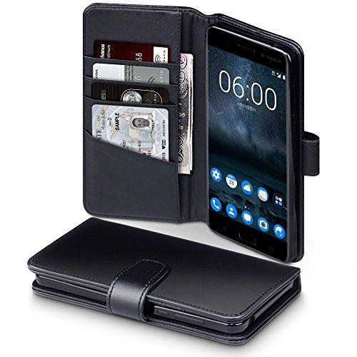 Nokia 6 Case, Terrapin [ECHT LEDER] Brieftasche Case Hülle mit Standfunktion Kartenfächer und Bargeld für Nokia 6 Hülle Schwarz