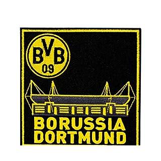 Borussia Dortmund BVB Aufnäher Stadion, Polyester, Schwarz/Gelb, 9 x 9 x 1 cm