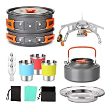 Odoland Camping Cookware Set - Hiking cooking Kit with Camp Stove, Lightweight Camp Utensil Gear Includ Pot Pan Kettle Cups and Plate for Outdoor Camping Trekking Hiking and Picnic for 3 People
