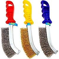 S&R Juego de cepillos metálicos de 3 piezas: 1 Cepillo de Acero Inox, 1 Cepillo de Latón, 1 Cepillo de Acero. Cepillos Profesionales