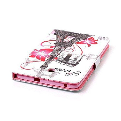 Etsue Kunstleder Schutzhülle für Samsung Galaxy Tab E 8.0/ T377/T375 Leder Tasche Bookstyle Hülle Flip Case Wallet Cover, Bunte Retro Muster Schutz Hülle Etui Schale Weich TPU Innere mit Magnetverschl Eiffelturm,Pink Flower