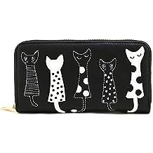 4yourpet Damen Geldbörse 3631 mit Reissverschluß und Katzenmotiven