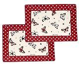 Lashuma Platzset Doppelpack | 2er Set Platzdecke Rot - Beige | 100% Baumwolle | Tischset 45 x 35 cm
