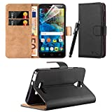 Alcatel Pop 4 (5.0) - New Flip Wallet Book [Stand View] Premium Leather Case Cover + Free Screen Protector With Microfibre Polishing Cloth (Alcatel POP 4, Black)