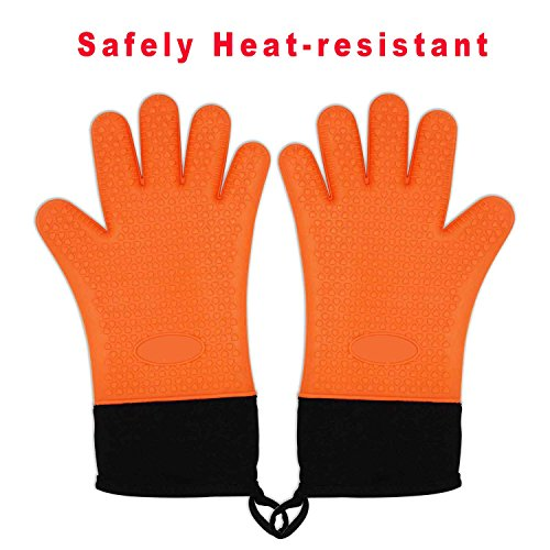 Zhiyi Grilling Gloves, Heat Resistant Gloves BBQ Kitchen Silicone Oven Mitts, Long Waterproof Non-slip Potholder for Barbecue, Cooking, Baking