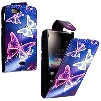GADGET BOXX Blau mit pinkfarbenen und Druck im Kunstlederklappetui Schmetterling weiß für Sony XPERIA MIRO ST23i