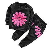 CHIC-CHIC Ensemble Sport Pyjama Bébé Filles Garçons Enfants Top Manches Longues + Pantalon Ensemble Costume Vêtement de Nuit 24-36mois Noir