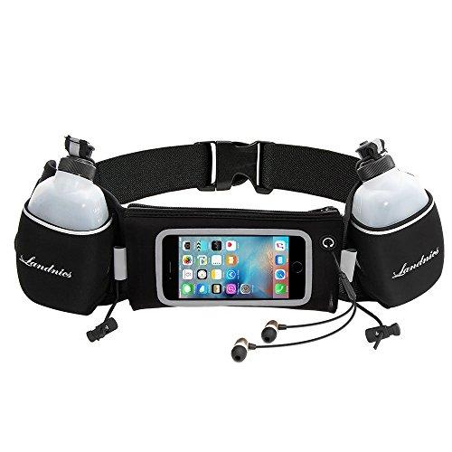 Laufgürtel, Landnics Trinkgürtel mit 2 Flaschen Smartphonefach Touchscreen Running Belt für Handy 5,5 Zoll Iphone 6S 6 Plus 7 7S / Plus, Joggen, Fahrradfahren, Reise, Marathon, Damen, Herren (Htc One M8-fall-karte)
