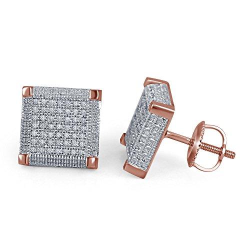 lilu Bijoux Femme Blanc Diamant Véritable Argent 925Boucles d'oreilles clous en argent sterling carré Micro 14k Rose Gold Plated