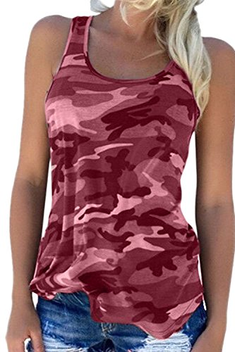 Damen T-Shirts Tank Top Sommer Casual Plus Size Camouflage Print Shirt Tops Winered XS (Casual Tank-top)
