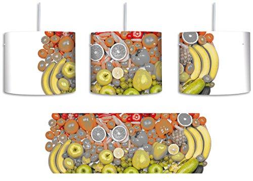 Tropische Beeren (Früchteregenbogenherz Schwarz/Weiß inkl. Lampenfassung E27, Lampe mit Motivdruck, tolle Deckenlampe, Hängelampe, Pendelleuchte - Durchmesser 30cm - Dekoration mit Licht ideal für Wohnzimmer, Kinderzimmer, Schlafzimmer)