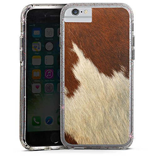 Apple iPhone X Bumper Hülle Bumper Case Glitzer Hülle Kuhfell Look Tiere Animals Bumper Case Glitzer rose gold