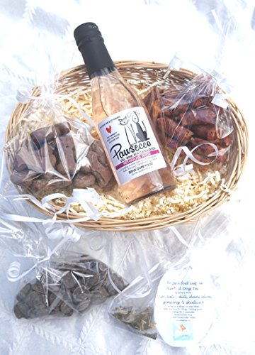LUXURY GIFT WRAPPED VALENTINE DOG HAMPER WITH HEART TAG, ROSE DOG WINE, DOG TEA & TREATS