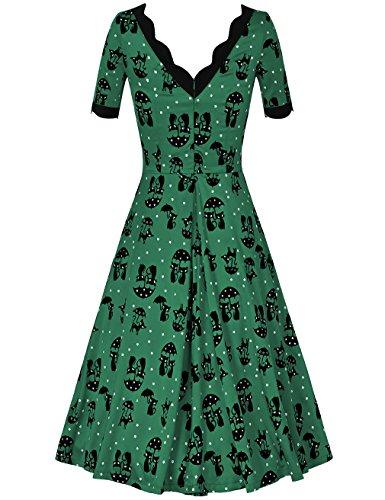 MUXXN Rétro robe cocktail balancée casual et mignon de femme des années 1950 au colV Green Cat