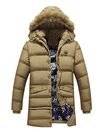 LaoZan Herren Lange Wintermantel Steppjacke Oberbekleidung Mit Kapuze Kapuzenjacke Kapuzenparka Parka Oberbekleidung Khaki